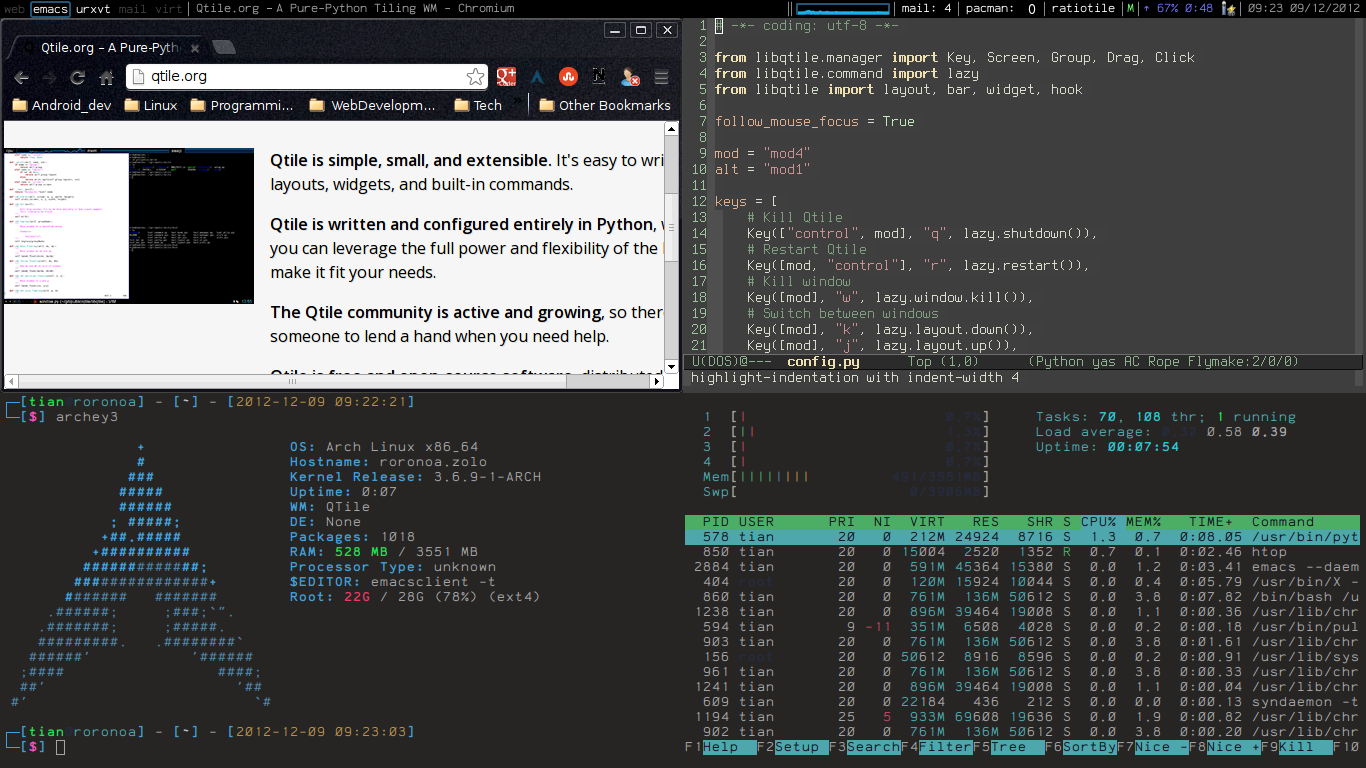 Qtile: hackable tiling window manager in Python – Tuxdiary